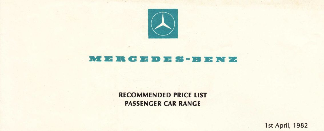 April 1982 price list header